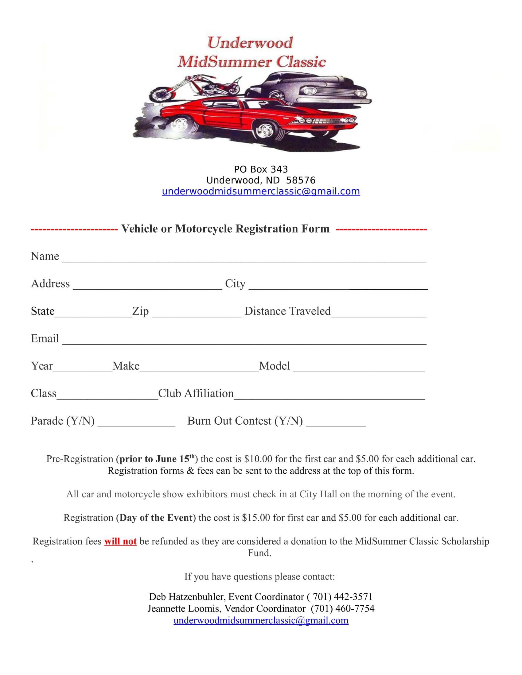 Vehicle Registration Form Template Car Show Radar - Car show registration form template