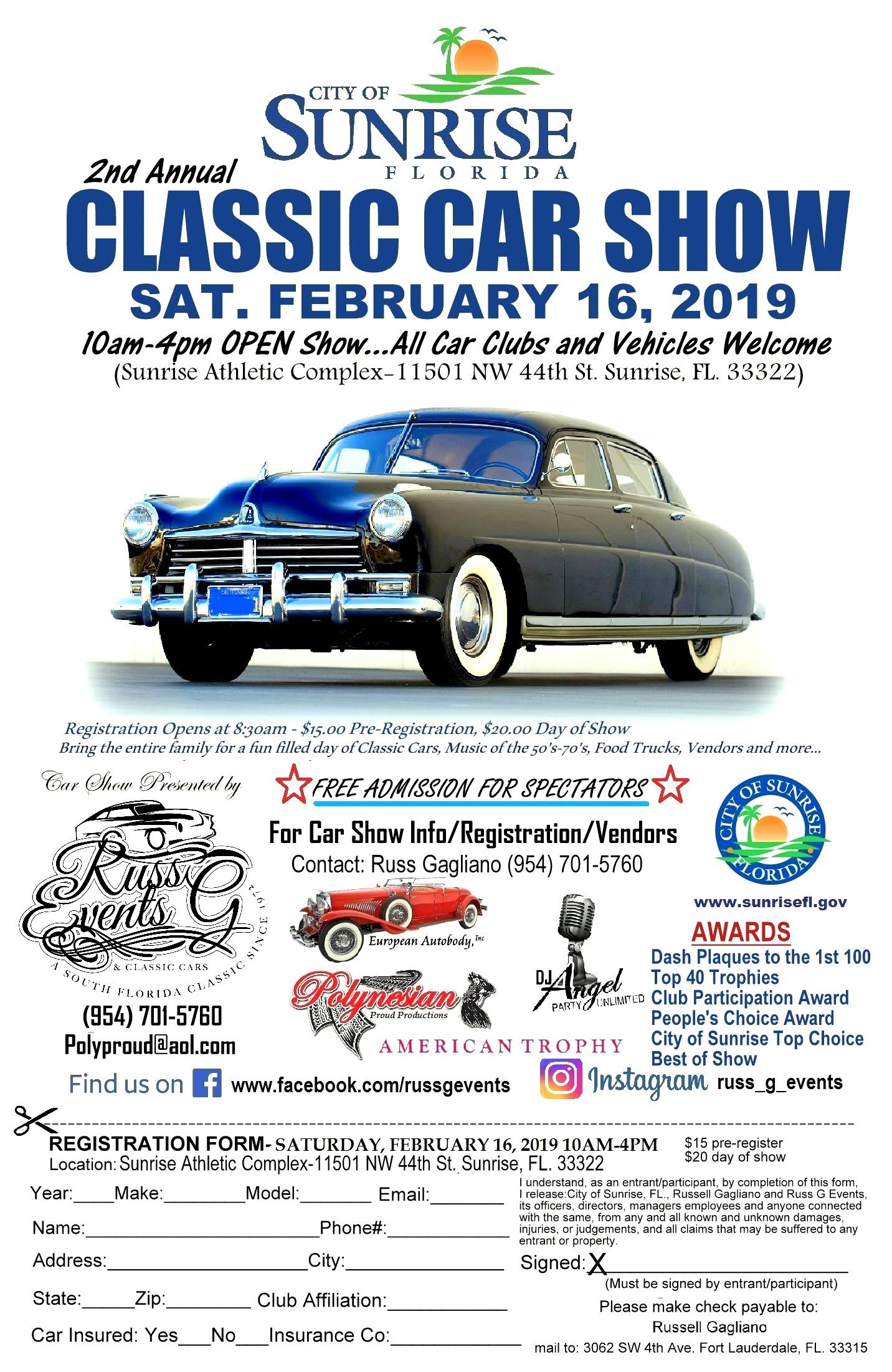 2nd Annual City of Sunrise Classic Car Show   Car Show Radar
