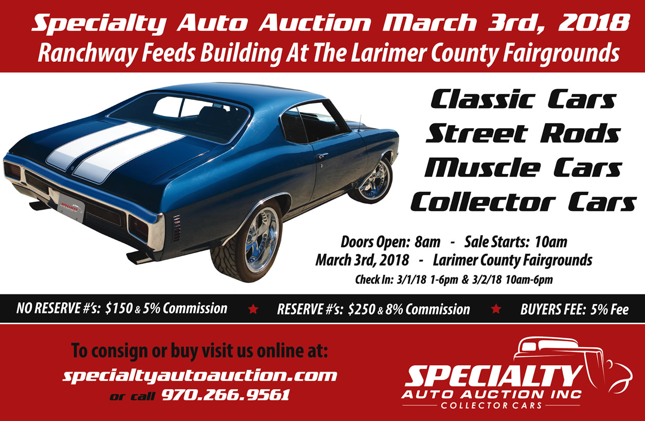 SPECIALTY AUTO AUCTION - MARCH 3, 2018 | Car Show Radar